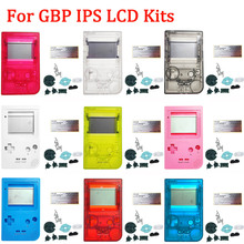 IPS مخصصة قذيفة مع أزرار ل GBP سطوع IPS شاشة LCD أطقم مع عدسة زجاجية الإسكان شل مجموعات ل GameBoy جيب