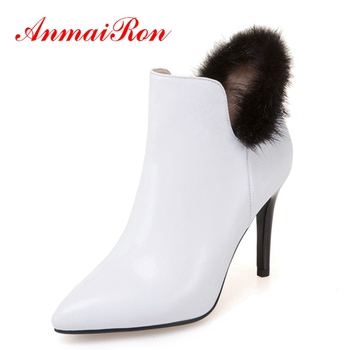 ANMAIRON Women Pointed Toe Slip-on Zapatos De Mujer  Ankle Boots Bella Hadid  Booties Big Size 34-43 ZYL1375