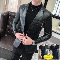 2019 New Autumn Faux Leather Suit Jacket Men Korean Trendy Slim Fit Coat White Red Black Fashion Streetwear Blazer Jackets Male