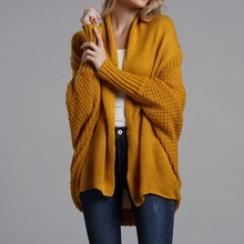 Women Autumn Cardigan Sweater Batwing Sleeve Knitwear Jacket Solid Color Plus Size Cardigan Female Femme Jumper Coat 2019 New цена
