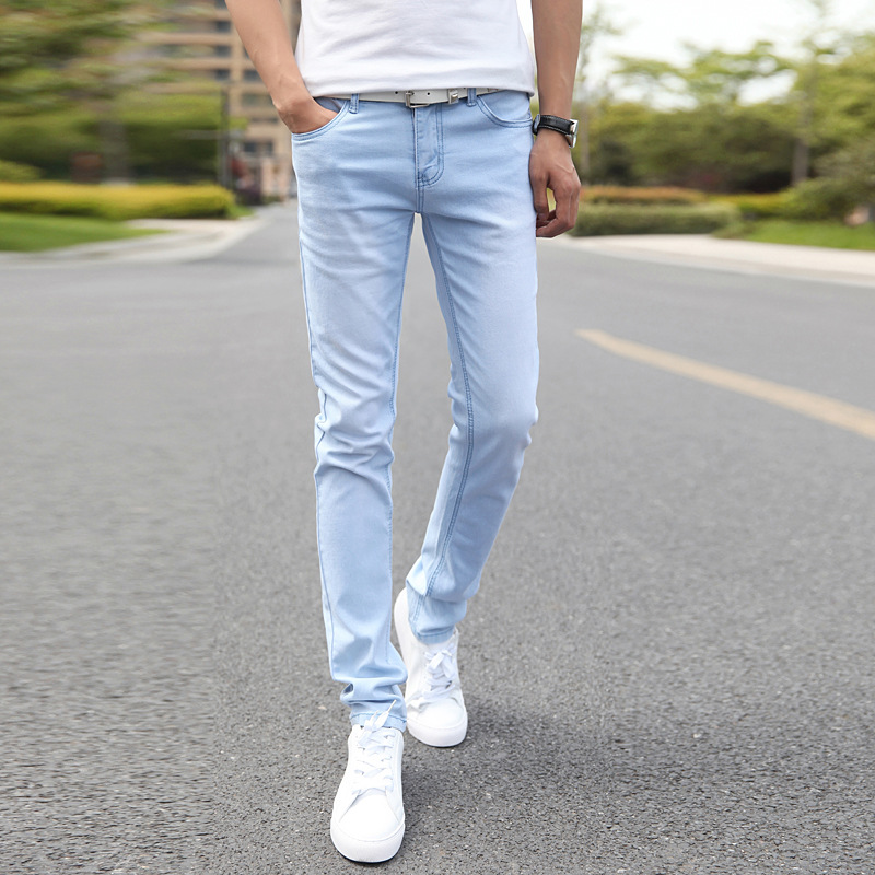 Spring Sky Blue Jeans Men Korean-style Trend 2019 Teenager Slim Fit Pants Casual Handsome Stretch Trousers