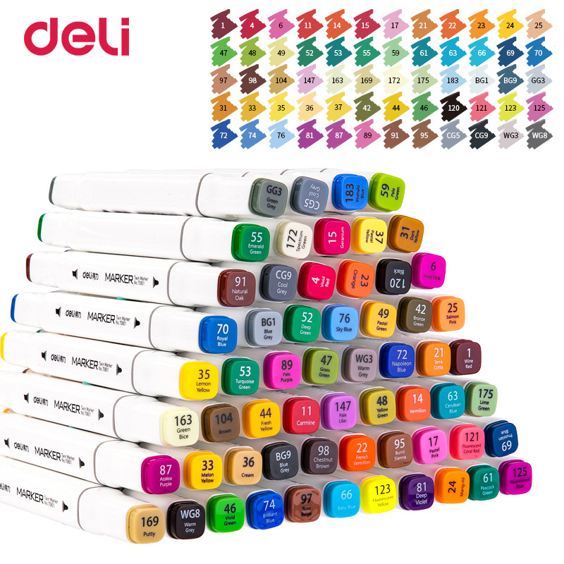 Deli  1pcs  60 Colors Pen Write Brush Pen Calligraphy Paint Marker Pens Set Drawing Painting Watercolor Art Brush Pen