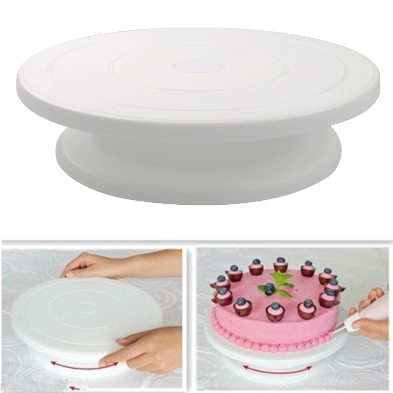 Plastic Cake Plate Turntable Rotating Anti-skid Round Cake Stand Cake Decorating Rotary Table Kitchen DIY Pan Baking Tool image