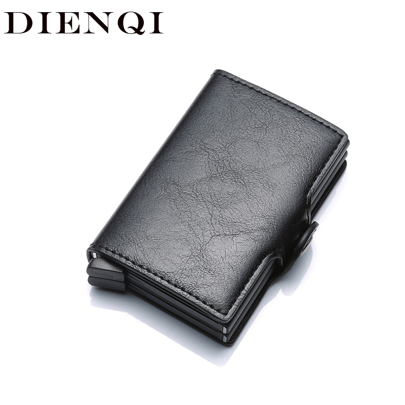 DIENQI Aluminium Rfid Wallet Male Big Coin Purse Men Leather Double Personalized Wallet Pocket Money Bag Credit Card Cases 2019