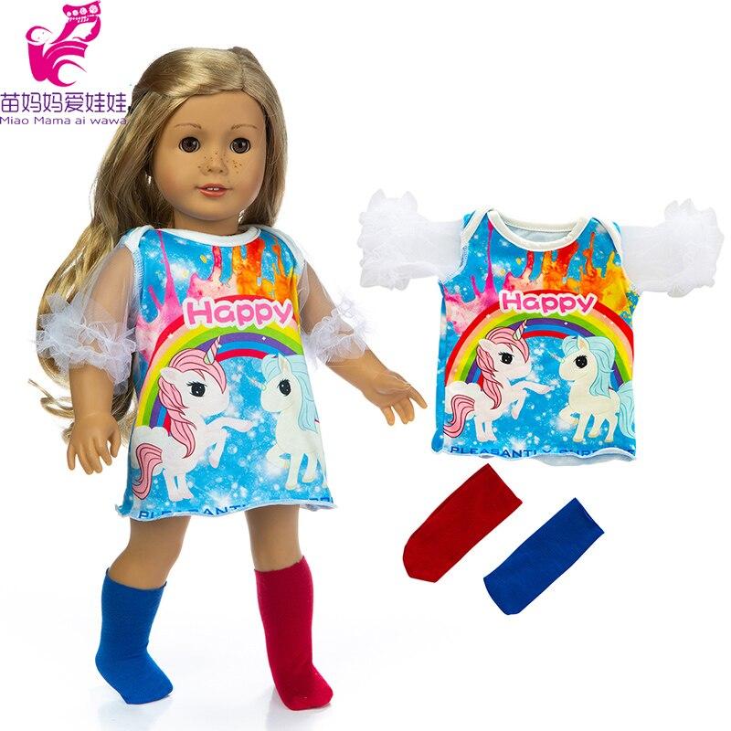 """18 """"Одежда для куклы, платье, носок, радуга, лошадь, 40 см, Детская Одежда для куклы, детское платье для куклы"""