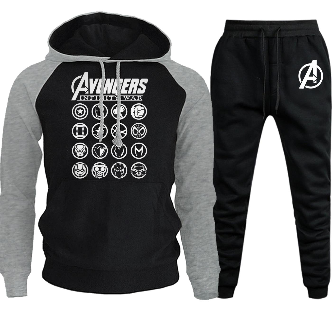 The Avengers Logo Streetwear Raglan Hoodies New Autumn Winter 2019 Casual Pullover Suit Male Fleece Hooded+Pants 2 Piece Set