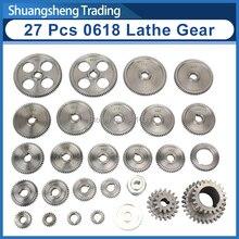 27pcs mini lathe gears CJ0618 348B Metal Cutting Machine gears Metal Gear Kit(Metric&imperial)