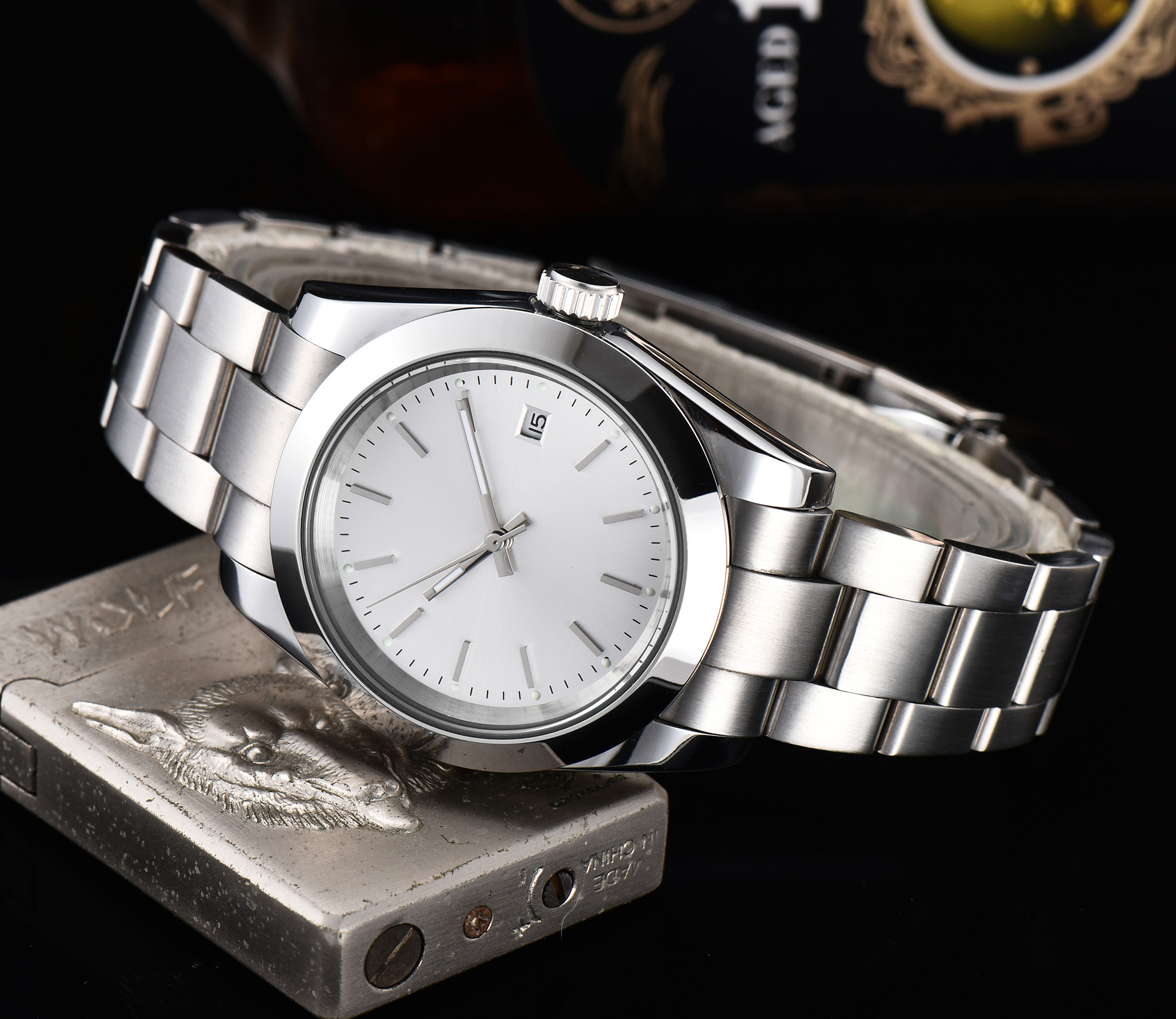 watch men automatic mechanical watch date Luminous waterproof stainless steel 40MM LLS84z