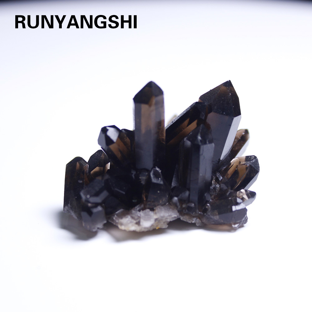Runyangshi 1pc Natural Smokey Quartz Cluster Decorationblack Crystal Cluster Reiki Healing Column Point Radiation Resistant
