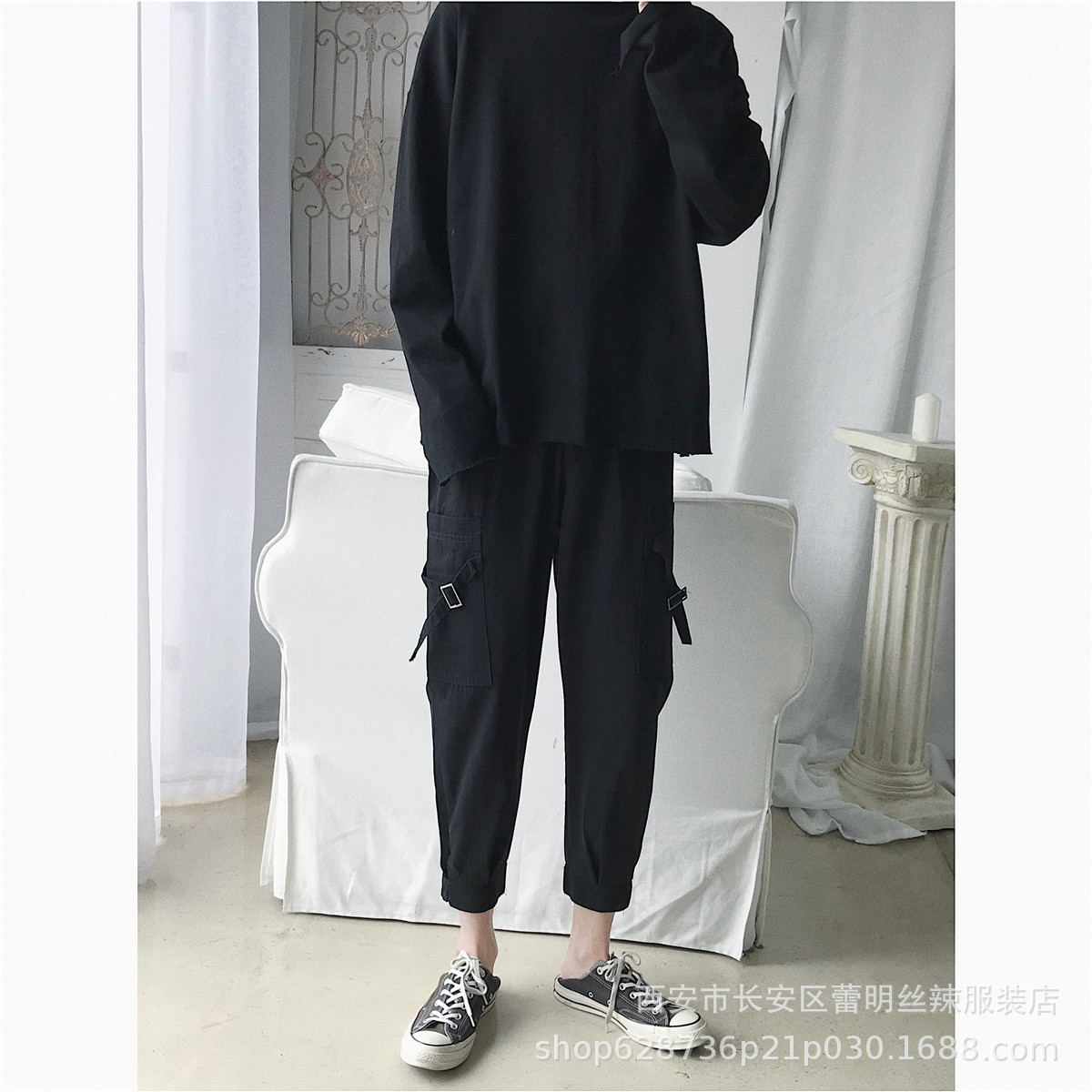 Melody Windmill Capri Ankle Banded Pants Men's Casual Pants Loose Autumn Thin Trend Versatile Korean-style Black And White With