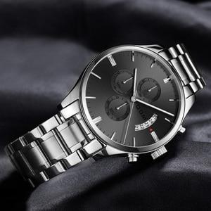 Image 2 - Dom Nieuwe Mode Heren Horloges Topmerk Luxe Grote Wijzerplaat Militaire Quartz Horloge Staal Waterdichte Sport Chronograaf Heren M 1313