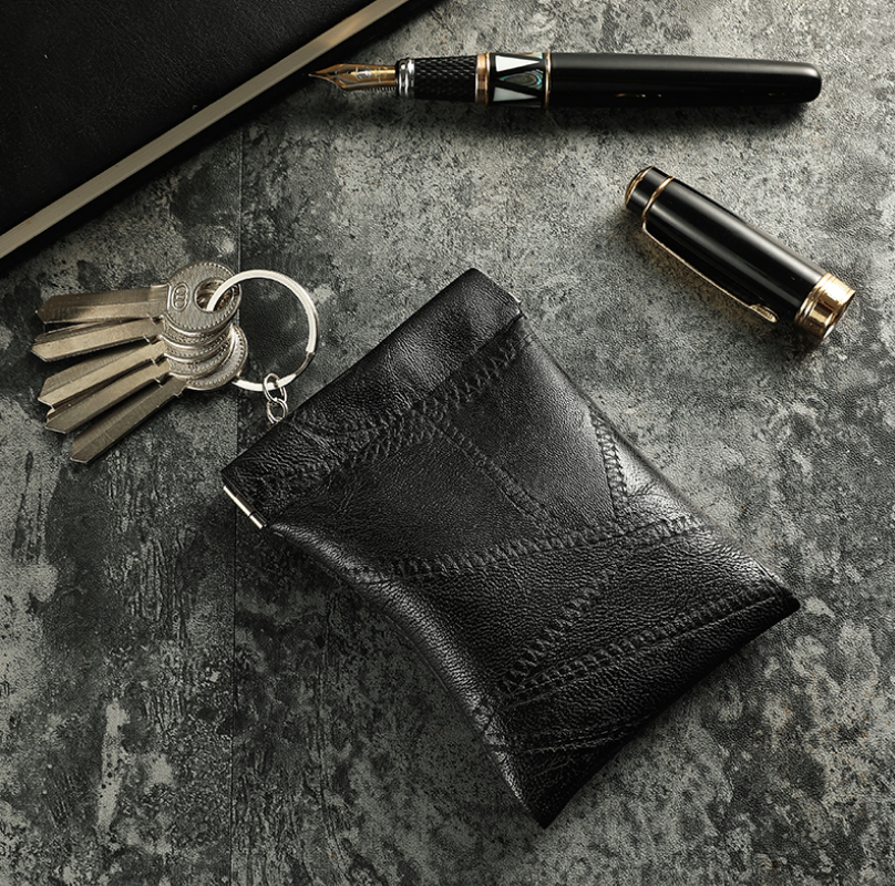 New Fashion Leather Long Pocket Key Wallet Keyring Coin Purse Women Men Small Short Money Change Keychains Bag Card Holder