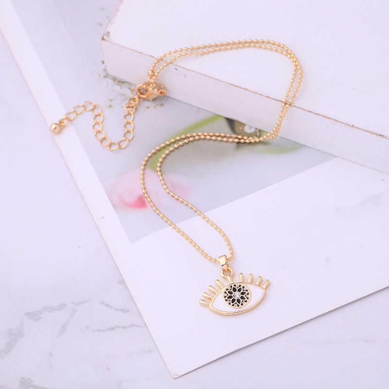 Exquisite Crystal Flower Pupil White&Black Enamel Evil Eye Pendant Necklace For Women Gold Color Fashion Jewelry Wholesale