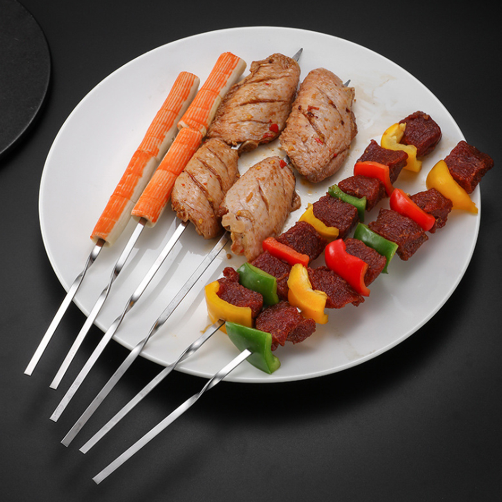 20pcs Reusable Flat Stainless Steel Barbecue Skewers BBQ Needle Stick For Meat Chicken Vegetable Party Cookout Outing Cooking