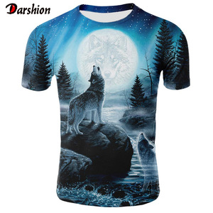 Mens Tee 3d t Shirt Summer Wolf Animal Printing Short Sleeve T-Shirt Blouse Tops Male Funny T Shirts 3D Animal t Shirt Plus Size