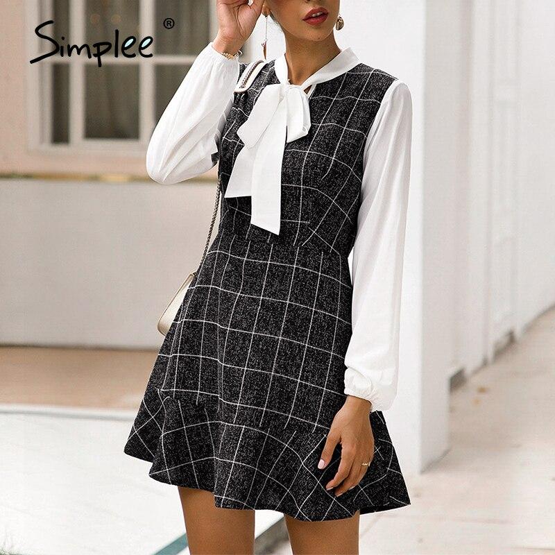 Simplee Women bodycon office dress High waist lantern strap bow plaid dress Ladies work wear spring summer buttons blazer dress