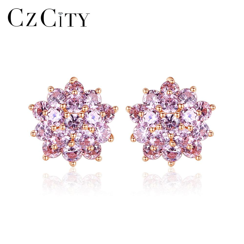 CZCITY Real 925 Sterling Silver Flower Cluster Stud Flower Earrings For Women Fine Jewelry Pink CZ Brincos Bijoux Christmas Gift