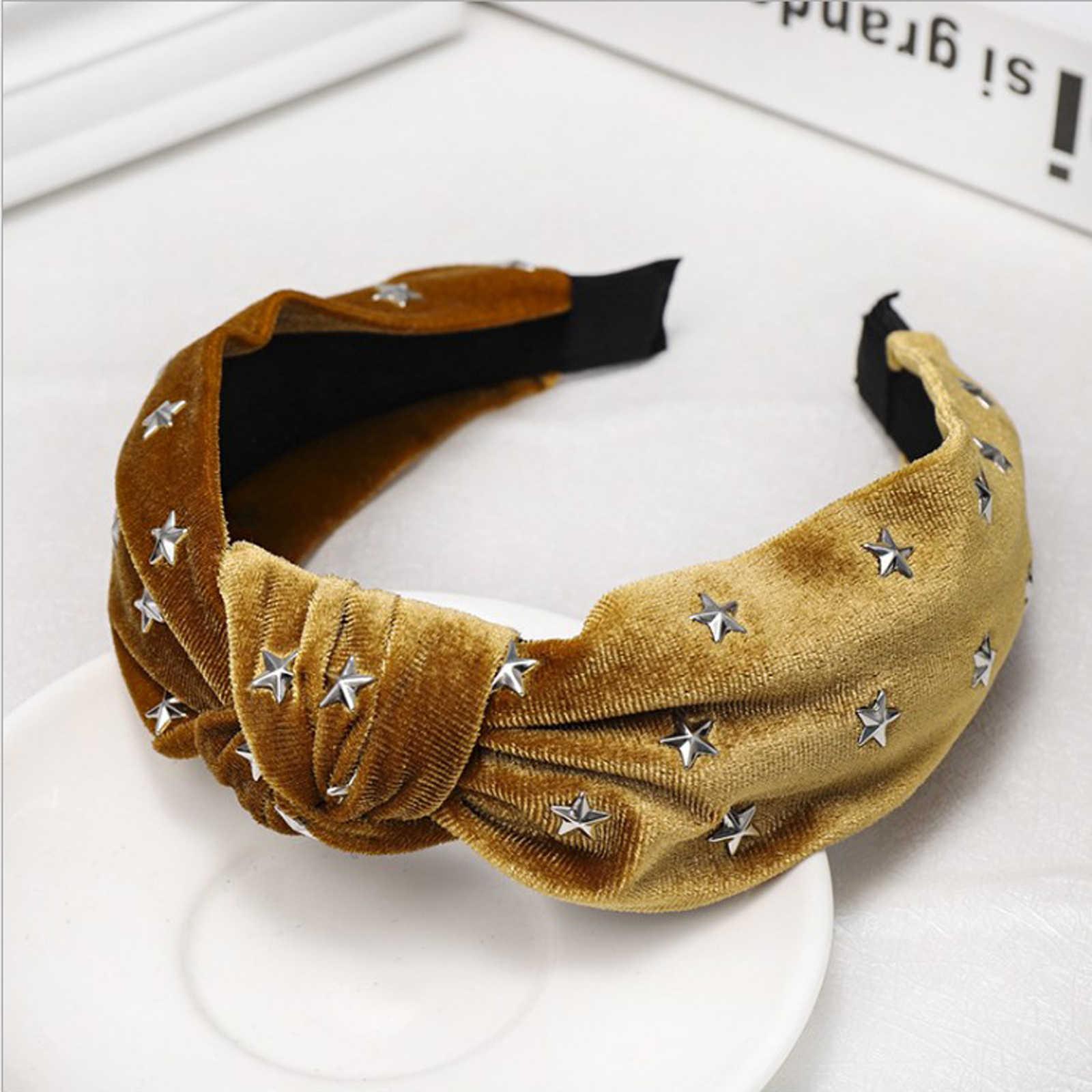 Baru Fashion Lembut Flanel Hairband Wanita Kasual Ikat Kepala Dewasa Emas Hiasan Kepala Pusat Simpul Sorban Rambut Grosir Aksesoris