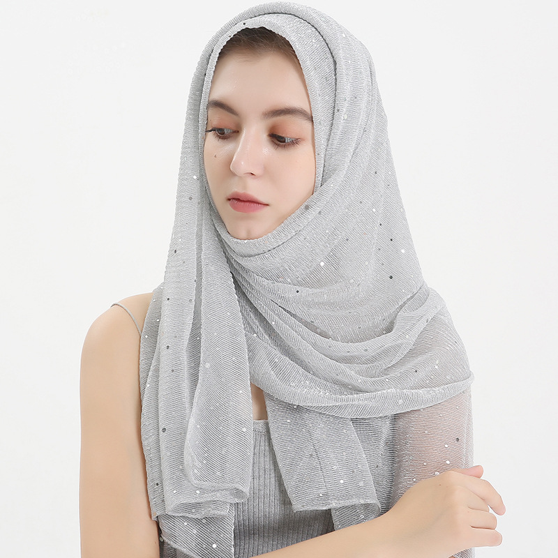 2019 New Glitter Sequins Women Hijab Scarf Arab Shawl And Wrap Head Scarves Muslim Long Hijab Femme Musulman Turban Foulard