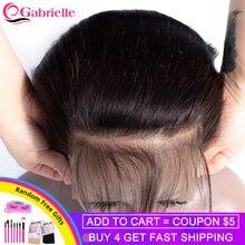 Extensiones de cabello humano con cierre de 7x7, pelo liso brasileño de Gabrielle, pelo de bebé, encaje suizo, pelo Remy de Color Natural de 8 22