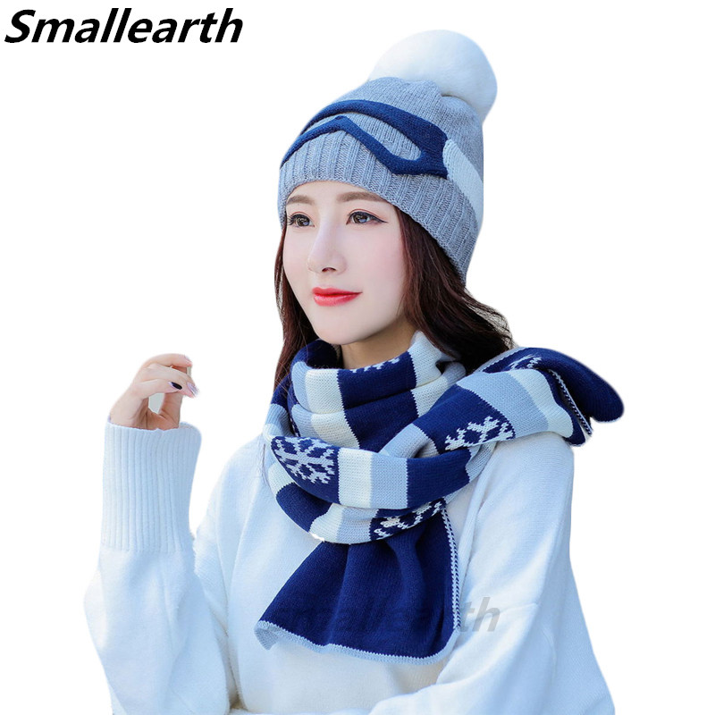 New Winter Hat Scarf Set For Women Warm Beanies Hat For Girl Long Scarves Pompoms Winter Plush Hats Knitted Caps Scarf 2 Pieces