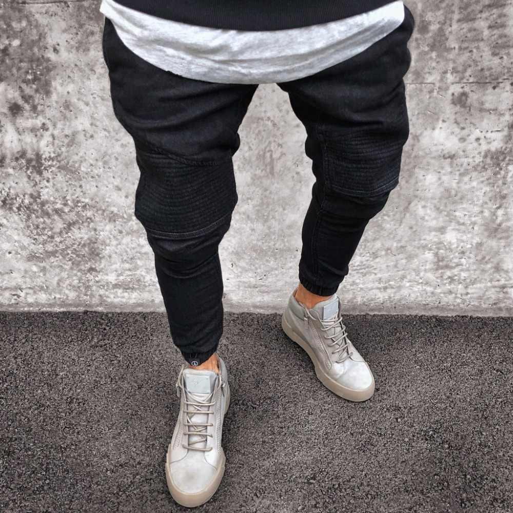 Новые мужские рваные джинсы плиссированные обтягивающие брюки для байкеров черные синие мужские джинсы джинсовые брюки для мужчин Slim Fit Can хип хоп джинсы