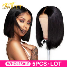 WholeSale hair ALI BFF 13*4 Lace Front Human Hair bob Wigs Brazilian Straight bob Wig For Black Women Remy Bob Wig Wholesale(China)