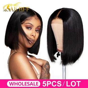 WholeSale hair ALI BFF 13*4 Lace Front Human Hair bob Wigs Brazilian Straight bob Wig For Black Women Remy Bob Wig Wholesale