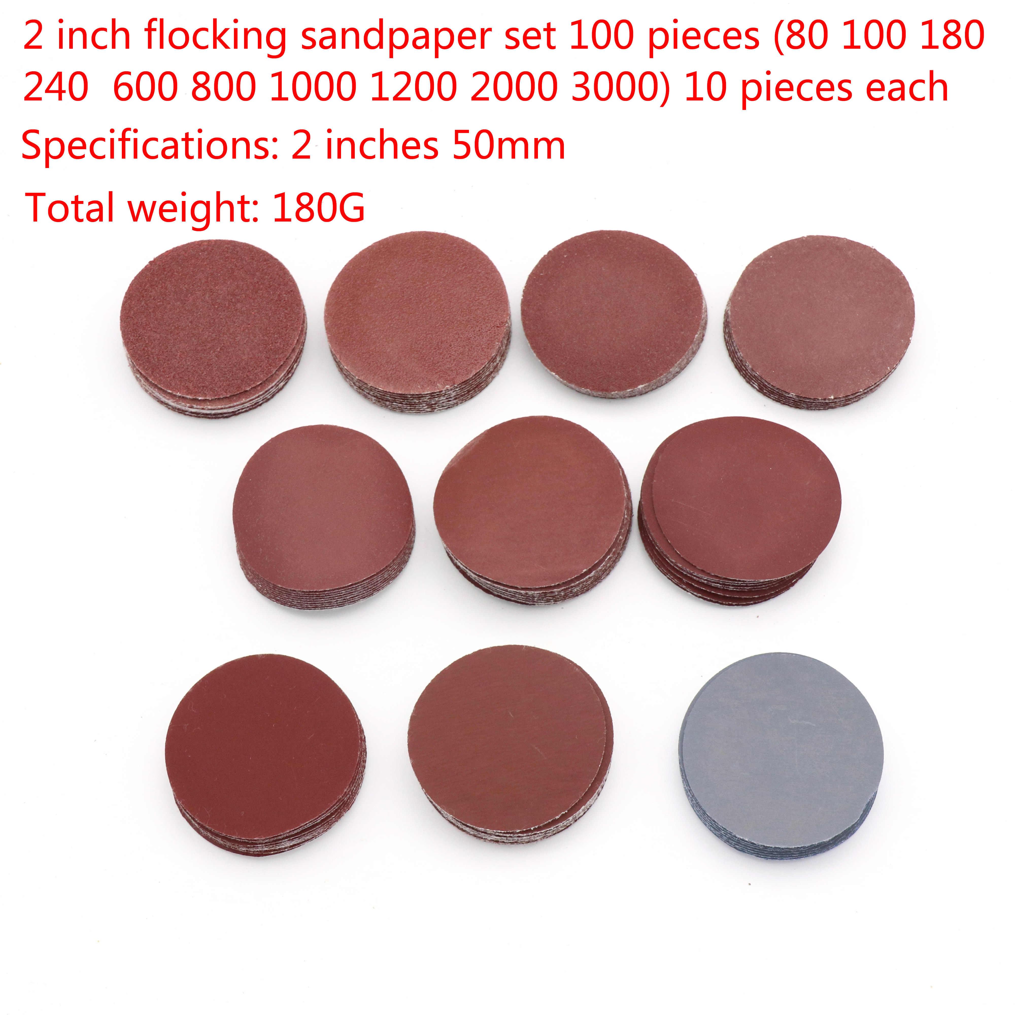 "100pcs 2/"" 80-3000 Grit Sanding Disc Hook and loop Sander Polishing Sandpaper Pad"