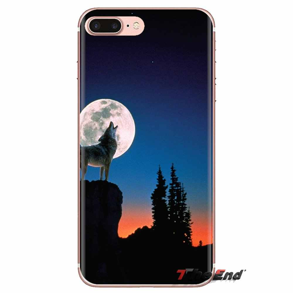 mobile phone case cover <strong>wolf</strong> howling at the moon
