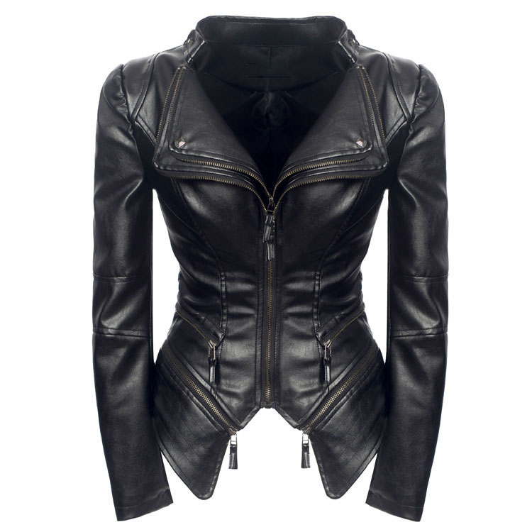 Women Fall Fashion Black   Leather   Coats Punk Style Zippers Motorcycle Jacket Turn-Down Collar Slim Turn-Down Pu Outerwear