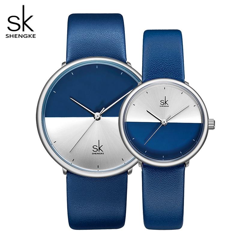 ShengKe Casual Lovers Watches Women Black Leather Strap Quartz Men Watch Ladies Dress Couple Watch Clock Relogios Femininos