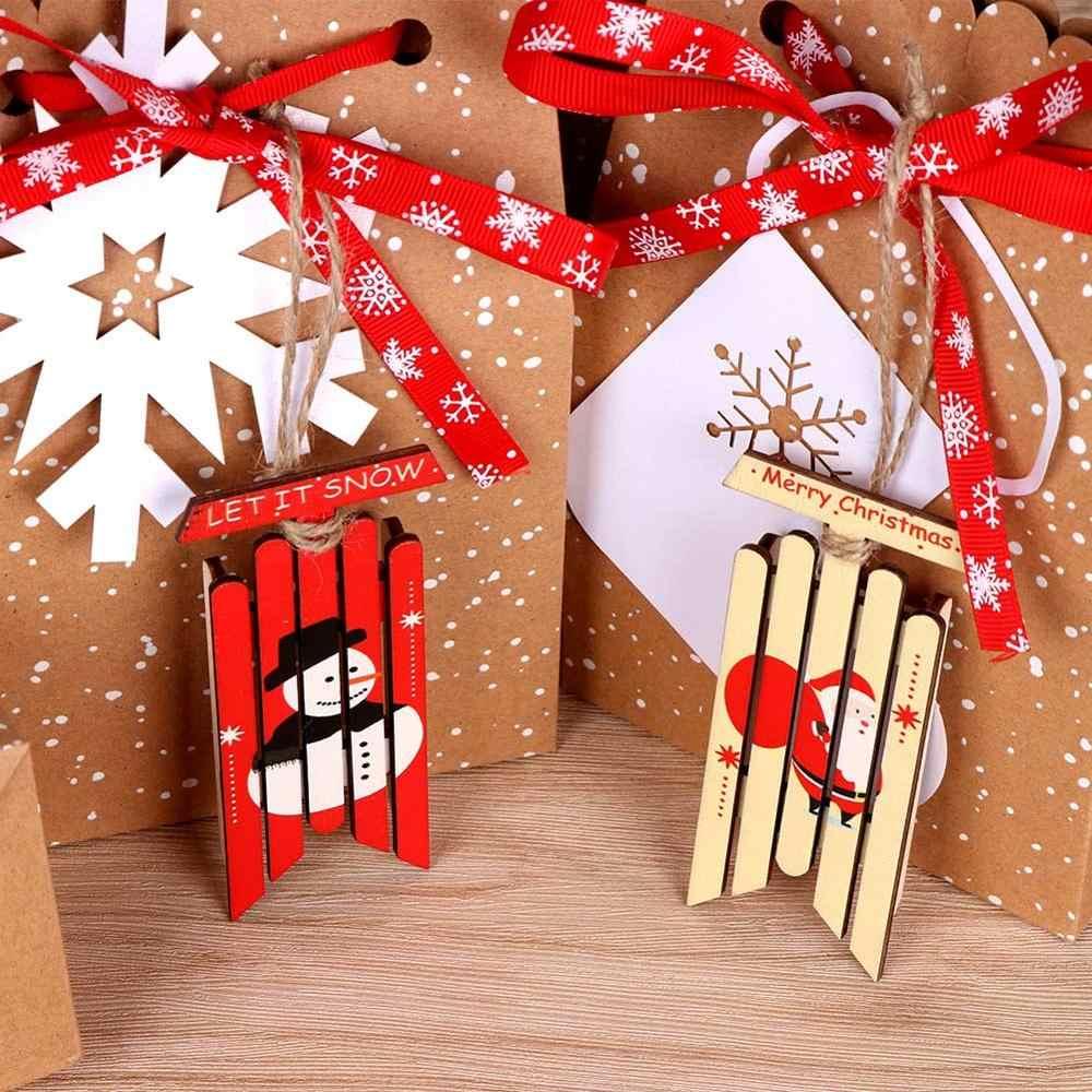 Regalos de Año Nuevo de decoración de árbol de Navidad con trineo de madera Vintage de 2 piezas