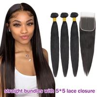 Admutty Straight Hair Bundles With Closure 5*5 Peruvian Hair Weave Bundles With Closure Human Hair Extensions Non Remy Hair
