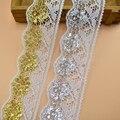 Лента кружевная золотистая/серебристая, ширина 64 мм, 5 ярдов