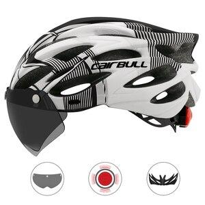 Image 3 - 超軽量サイクリング安全ヘルメット屋外オートバイ自転車テールライトヘルメットリムーバブルレンズバイザーマウンテンロードバイクヘルメット