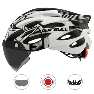Image 3 - Ultralight Cycling Safety Helmet Outdoor Motorcycle Bicycle Taillight Helmet Removable Lens Visor Mountain Road Bike Helmet