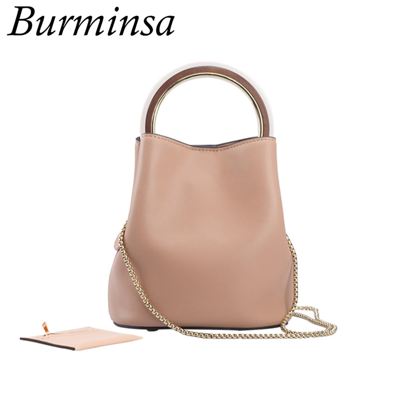 Burminsa 2 Pcs/Set Small Bucket Genuine Leather Crossbody Bags Round Handle Design Handbags High Quality Female Shoulder Bags