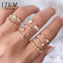 17KM Vintage Gold Crystal Rings Set Moon Star Beads Ring For Women Metal Charm Ring Bohemian Wedding Fashion Jewelry Party Gifts re bohemian 8pcs sets vintage gold color rings metal charm fashion rings women jewelry ring set party weeding gifts accessories