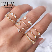 17Km Vintage Gold Crystal Ringen Set Moon Star Kralen Ring Voor Vrouwen Metal Charm Ring Bohemian Wedding Mode-sieraden party Geschenken(China)