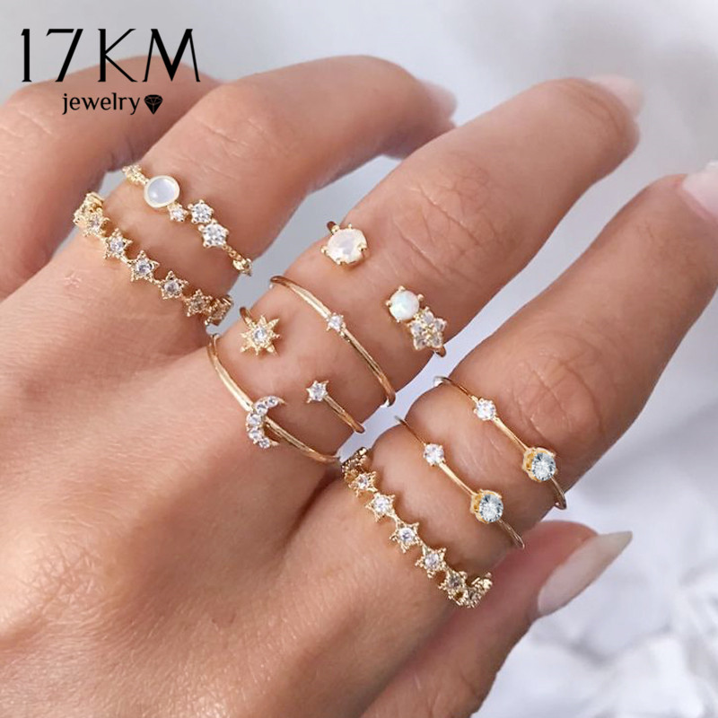 17KM Vintage Gold Crystal Rings Set Moon Star Beads Ring For Women Metal Charm Ring Bohemian Wedding Fashion Jewelry Party Gifts