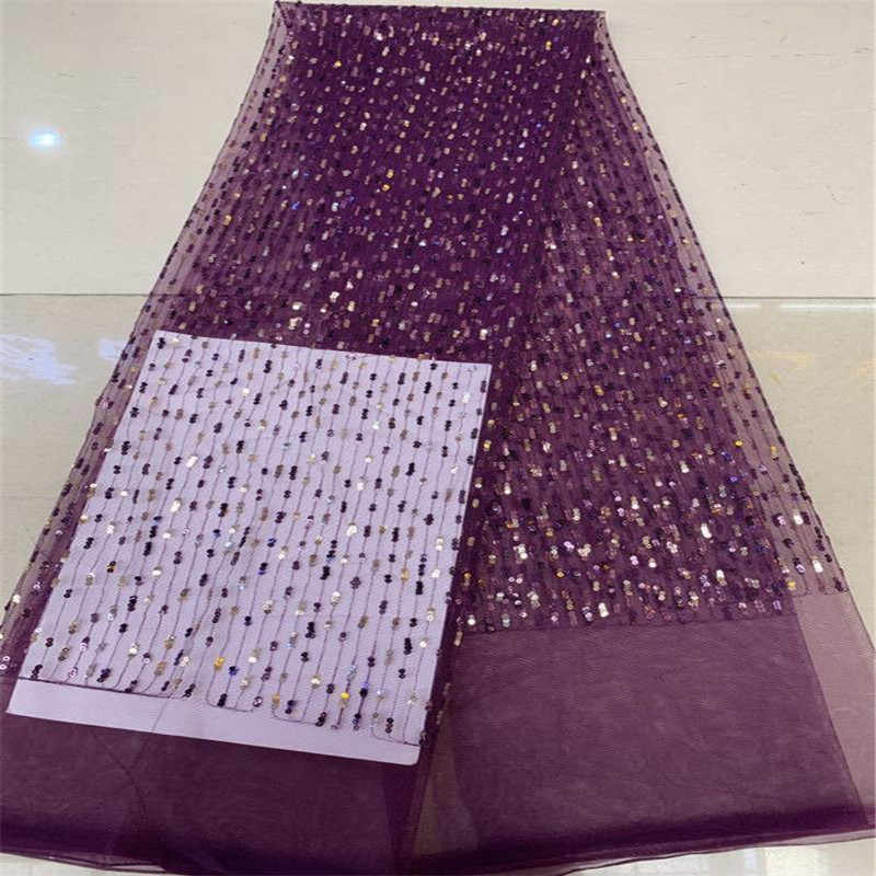 Lago azul De Alta Qualidade Tecido Africano Rendas Lantejoulas Tule Bordado Tecido de Renda Líquida Francês Para O Vestido de Festa de Casamento Nigeriano