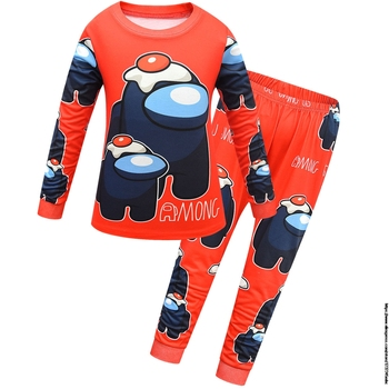 Game Among US Boy's Home Service Suit Underwear Cartoon Clothes Long-Sleeved Trousers Child Nightclothes Indoor Cotton Sleepwear 12