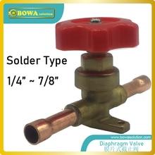 Ручные запорные мембранные клапаны могут быть поставлены с факелом, припоем ODF или припой ODF с удлиненными концами в соответствии с выбором