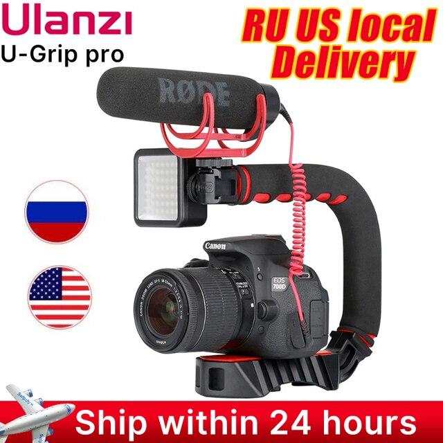 Ulanzi U Grip Pro Triple Shoe Mount Video Stabilizer Handle Video Grip Camera Phone Video Rig Kit for Nikon Canon iPhone X 8 7