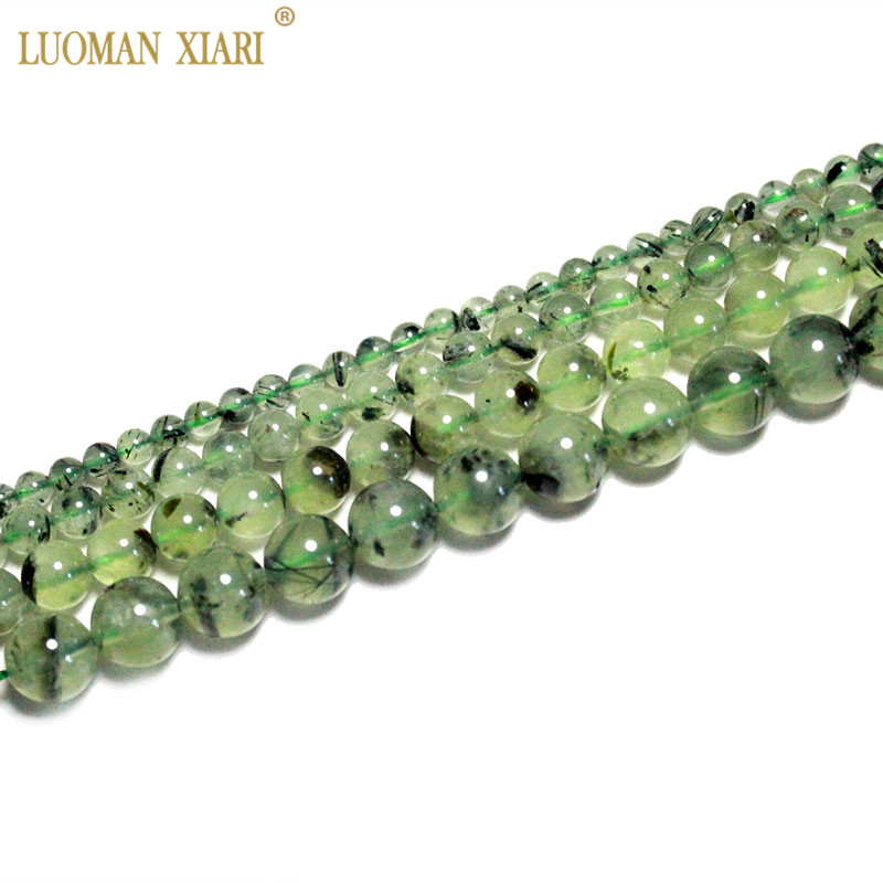 Fine AAA 100% Natural Top Green Prehnite  Round Natural Stone Beads For Jewelry Making DIY Bracelet Necklace 4/6/8/10 Mm