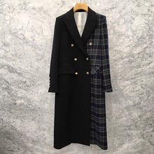 New Autumn Korean Blazer Mujer Casual Black Plaid Patchwork Suit