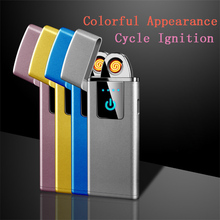New USB Charging Touch Screen Sensor Electronic Cigarette Lighter Flameless Rechargeable Windproof Tungsten Lighters