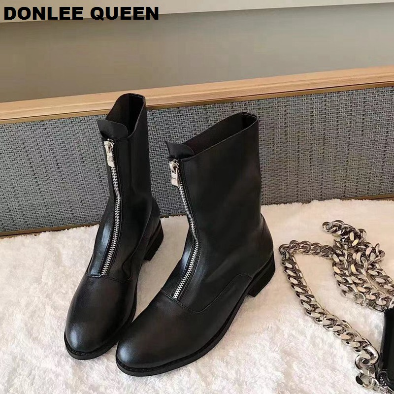 2019 New Women Boots Ankle Boots Microfiber Leather Zipper Autumn Boots Women Shoes Candy Color Chelsea Boots zapatos de mujer in Ankle Boots from Shoes