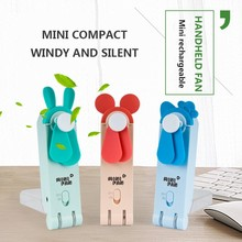Portable Mini Fan Transparent Cartoon Mickey USB Charging Small Pocket Folding Handheld mini Fans Classroom Outdoor
